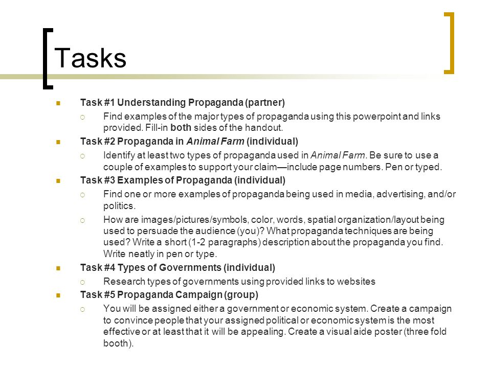 Tasks Task #1 Understanding Propaganda (partner)