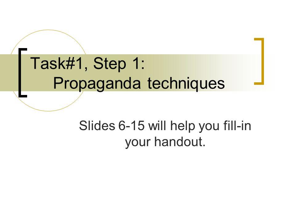 Task#1, Step 1: Propaganda techniques