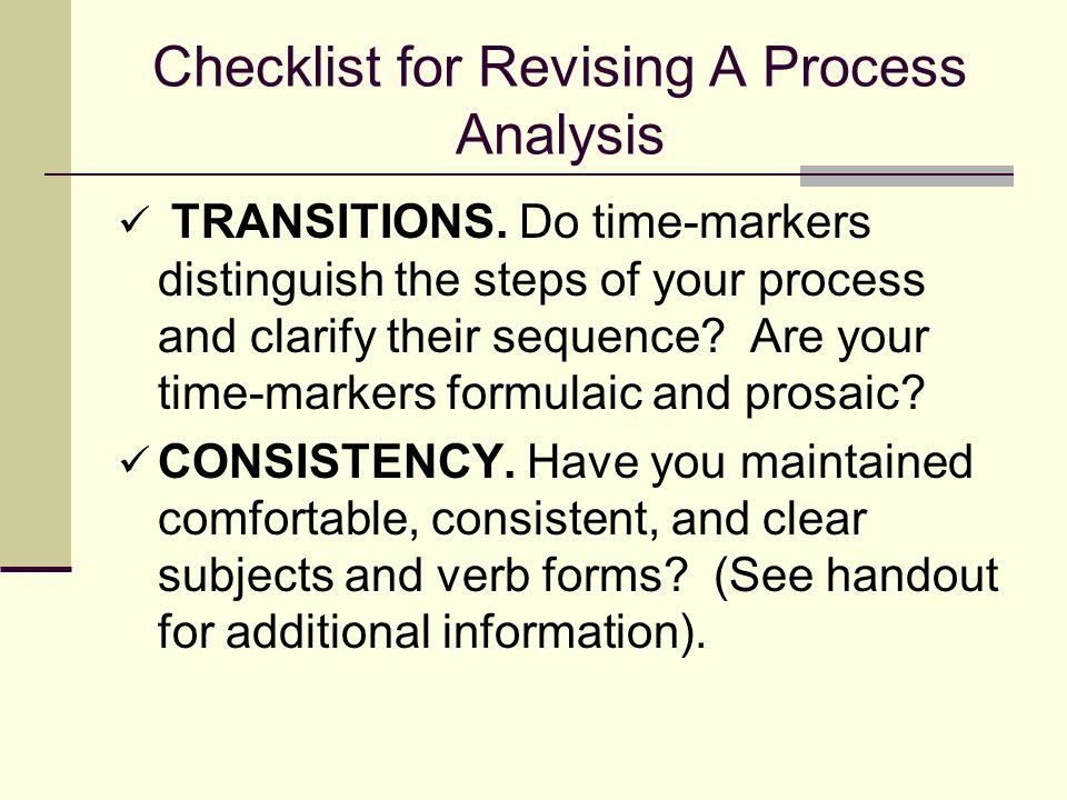 Checklist for Revising A Process Analysis