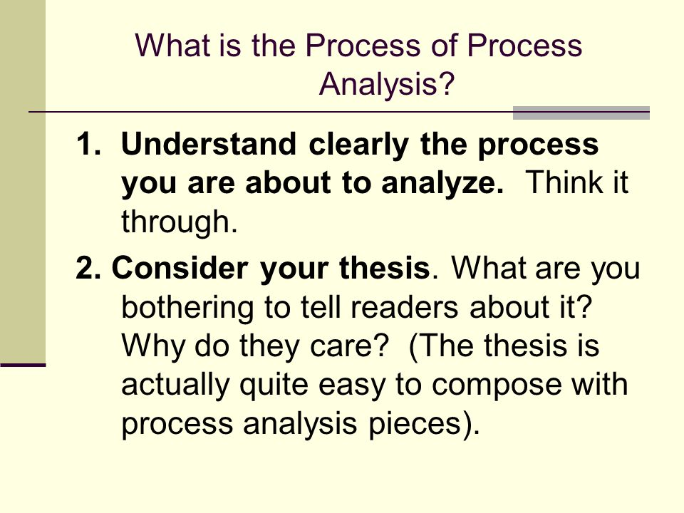 What is the Process of Process Analysis