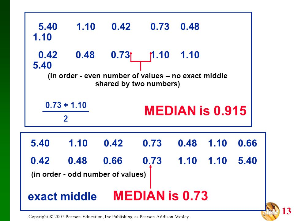 (in order - even number of values – no exact middle
