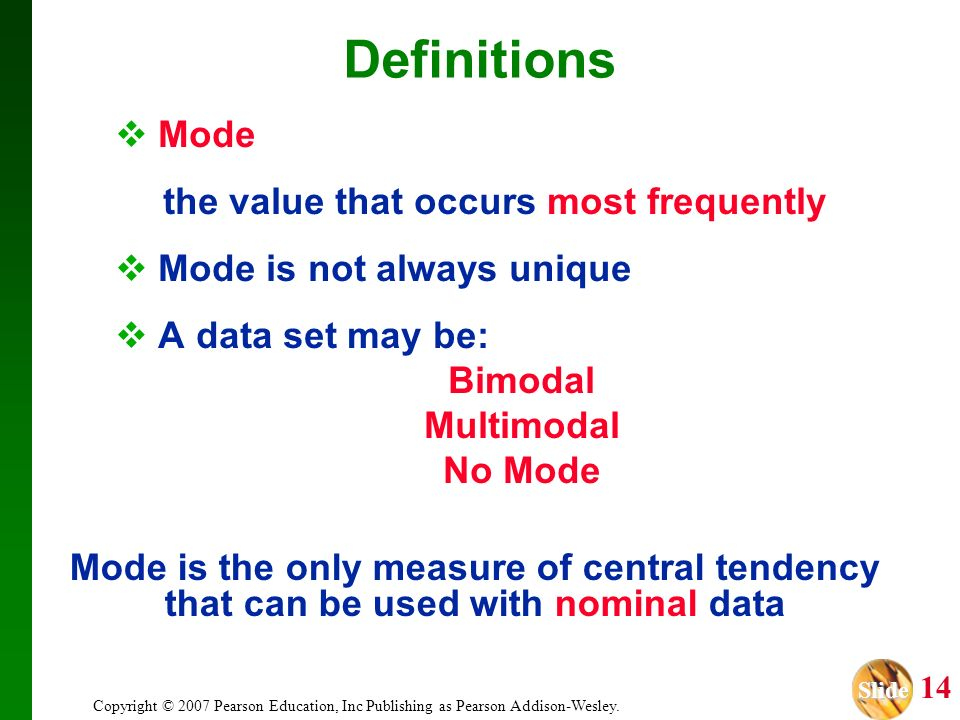 Definitions Mode the value that occurs most frequently