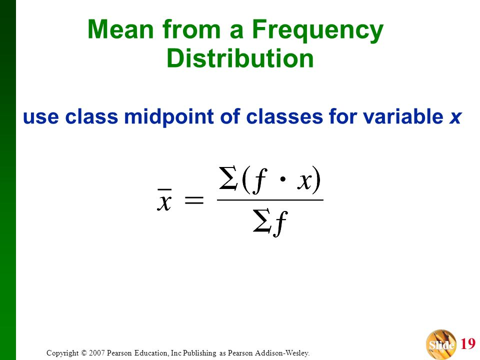 use class midpoint of classes for variable x