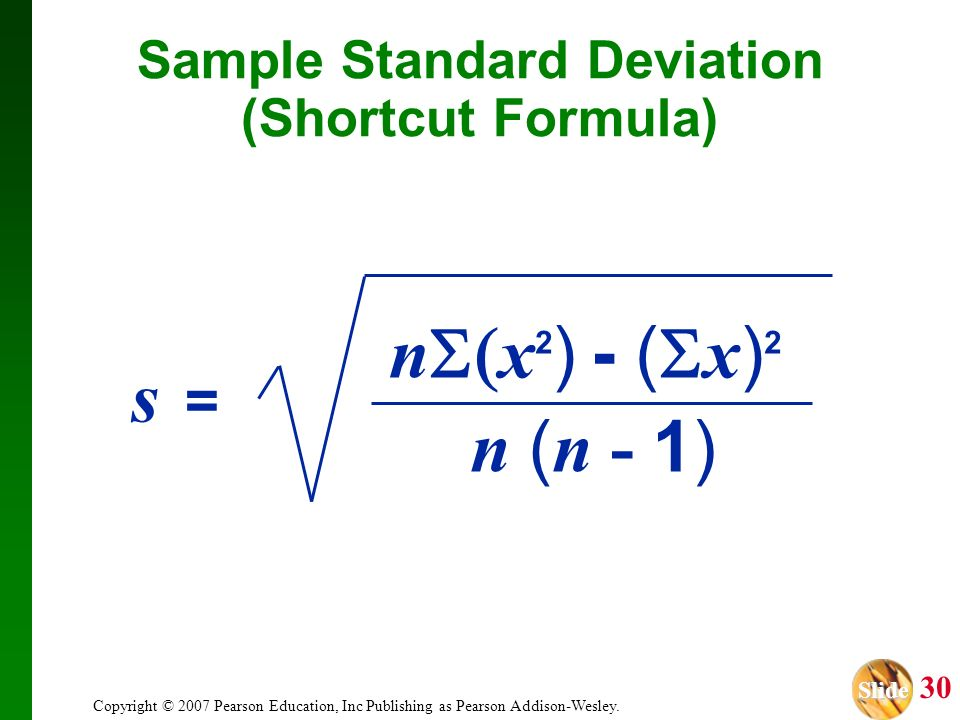 Sample Standard Deviation (Shortcut Formula)