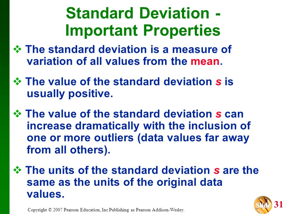 Standard Deviation - Important Properties