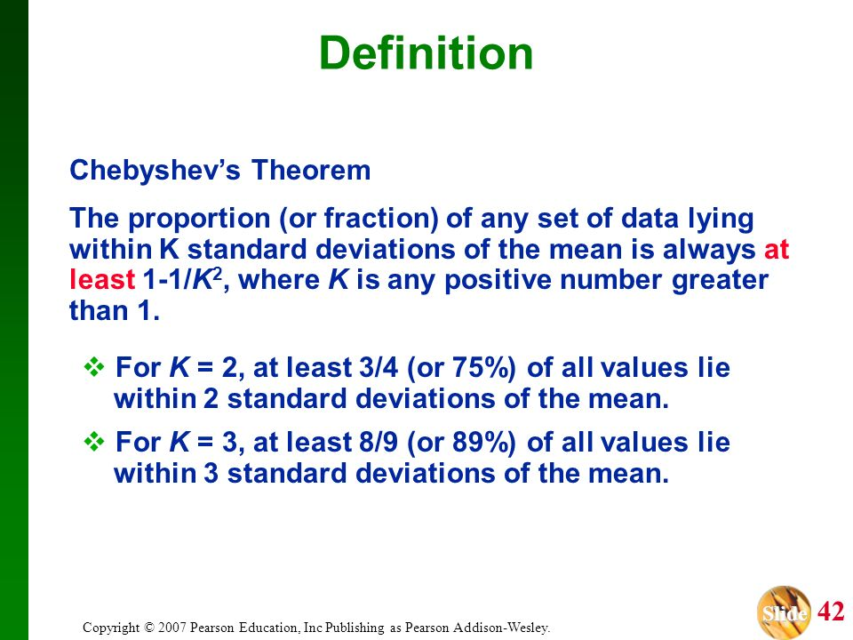 Definition Chebyshev's Theorem