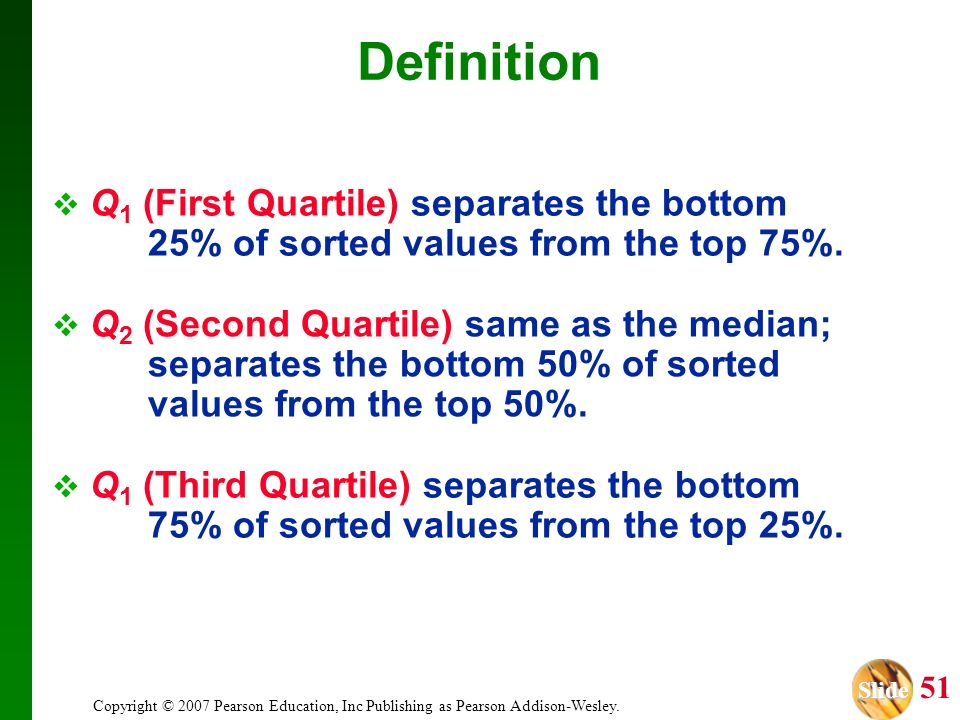 Definition Q1 (First Quartile) separates the bottom 25% of sorted values from the top 75%.