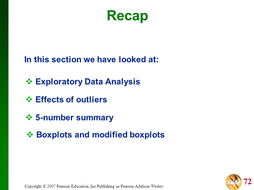 Recap In this section we have looked at: Exploratory Data Analysis