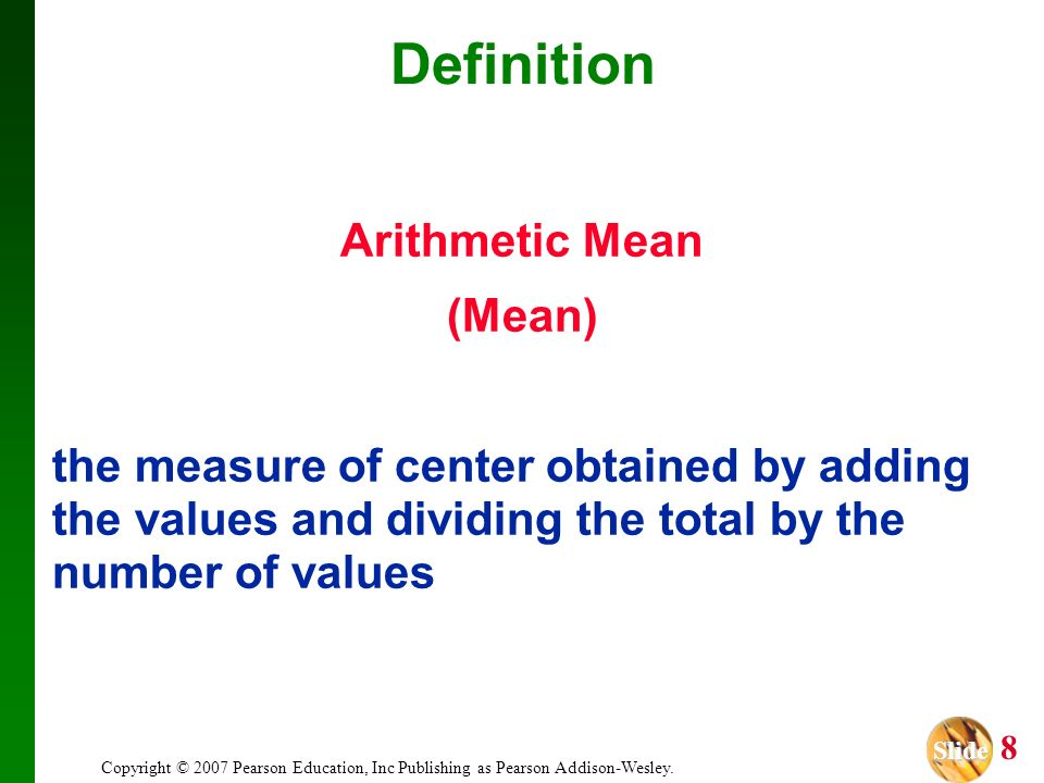 Definition Arithmetic Mean (Mean)
