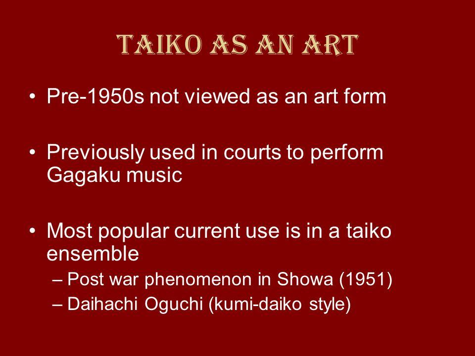 Taiko as an Art Pre-1950s not viewed as an art form