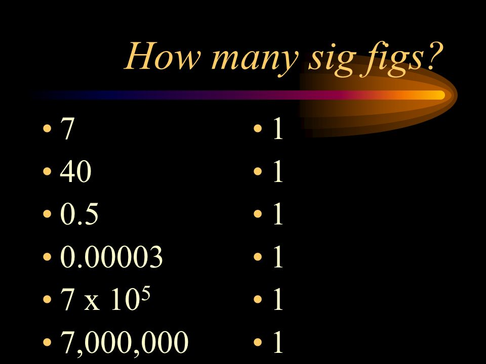 How many sig figs 7 40 0.5 0.00003 7 x 105 7,000,000 1