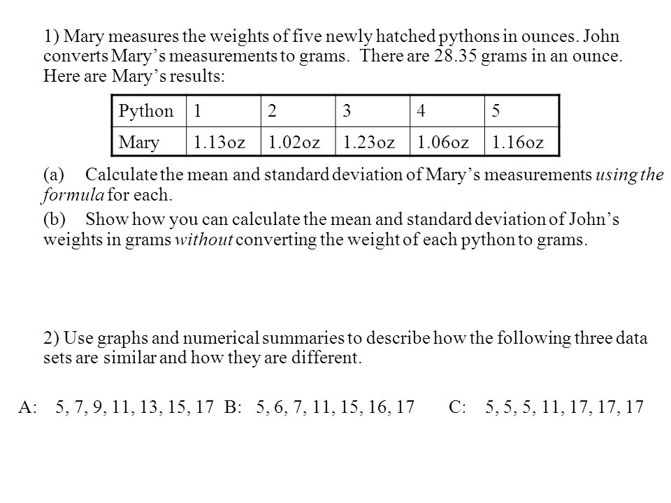 1) Mary measures the weights of five newly hatched pythons in ounces