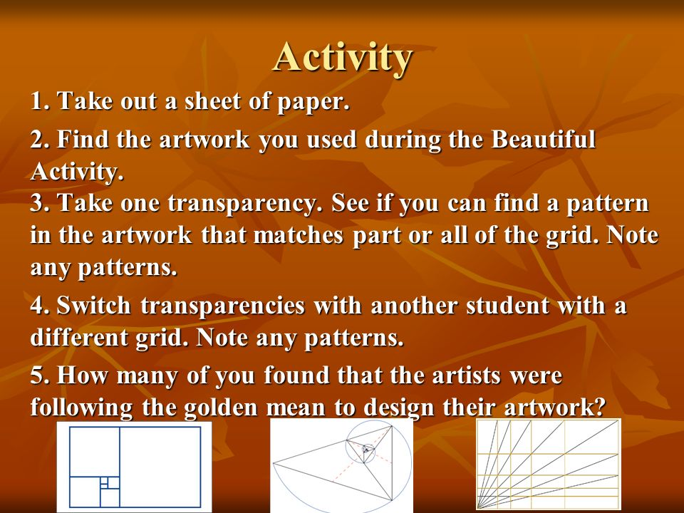 Activity 1. Take out a sheet of paper.