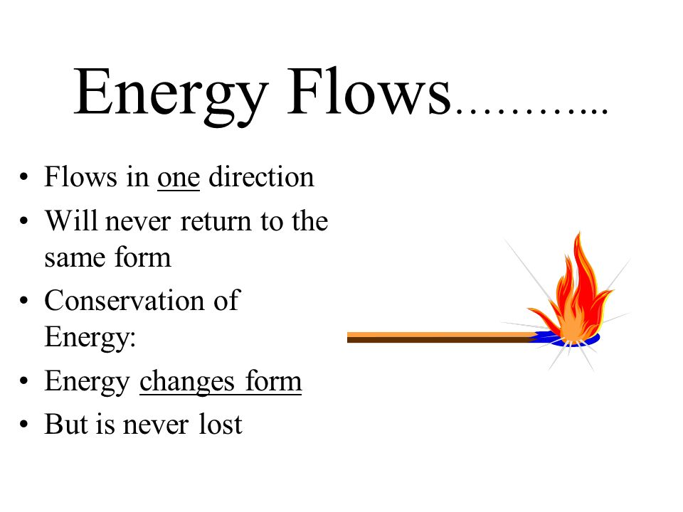 Energy Flows………... Flows in one direction