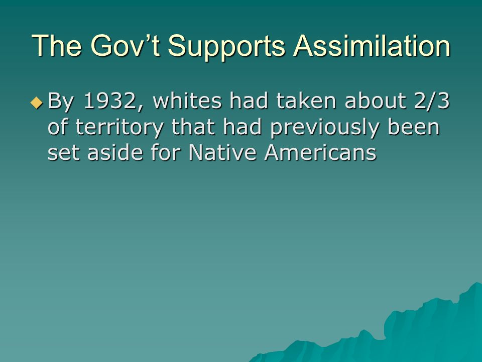The Gov't Supports Assimilation