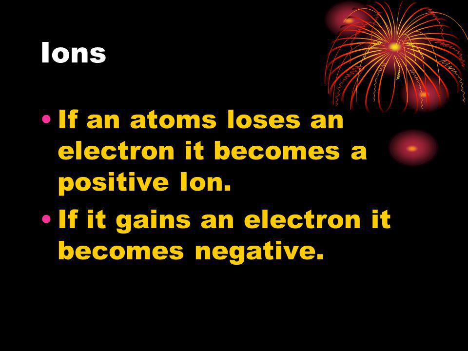 Ions If an atoms loses an electron it becomes a positive Ion.