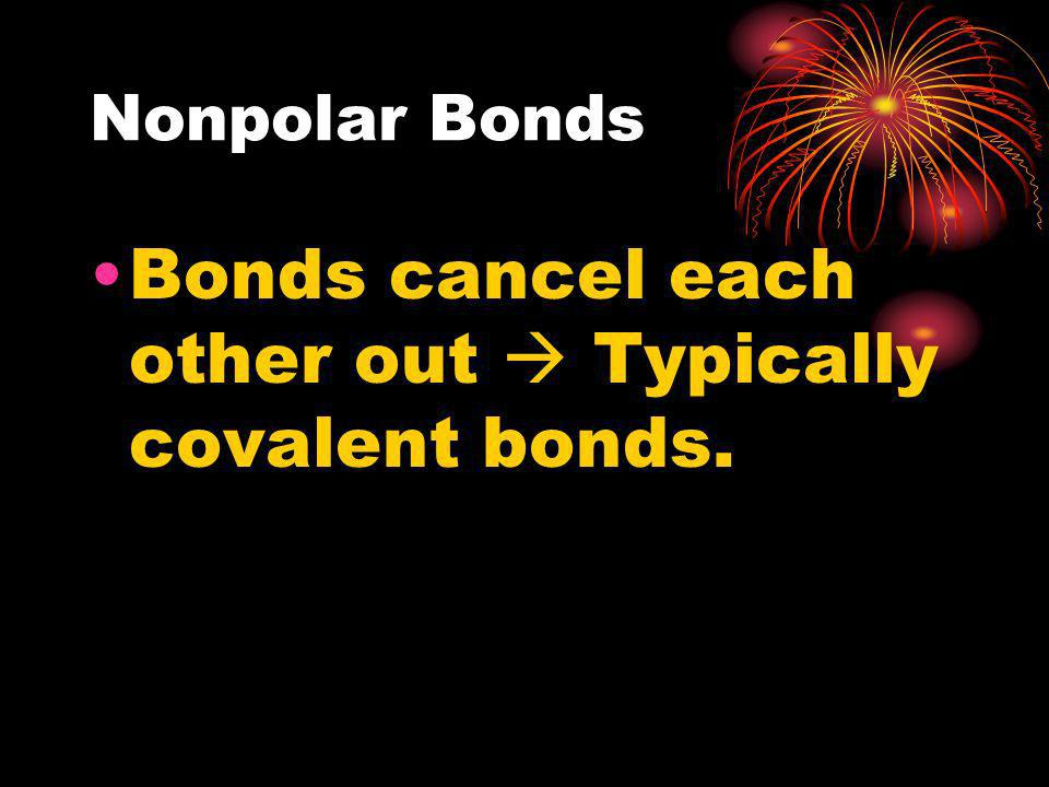 Bonds cancel each other out  Typically covalent bonds.