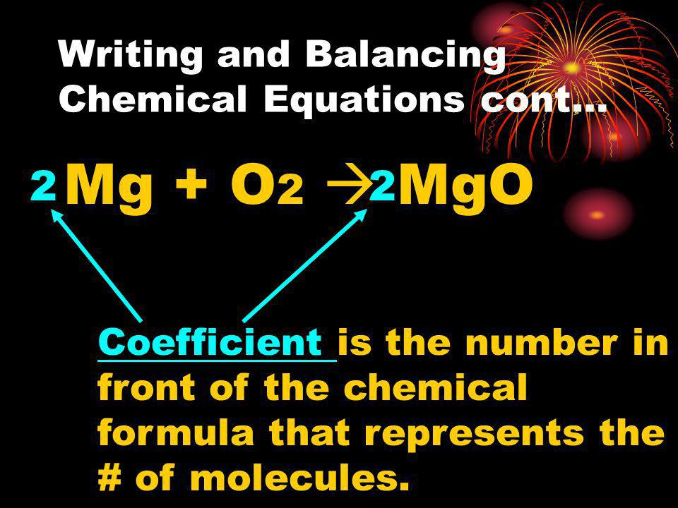 Writing and Balancing Chemical Equations cont…