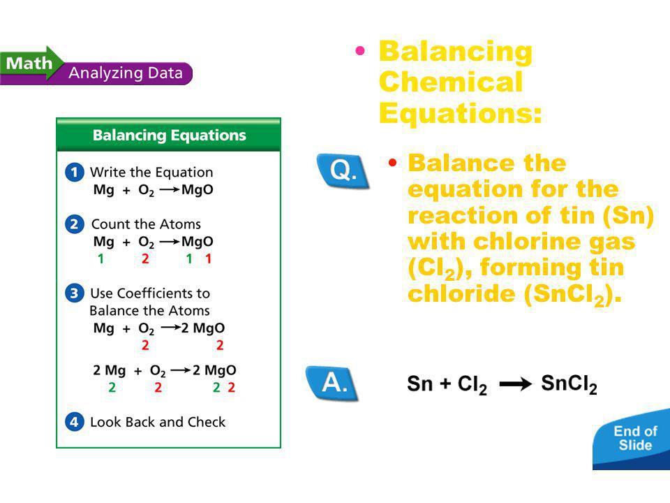 Balancing Chemical Equations: