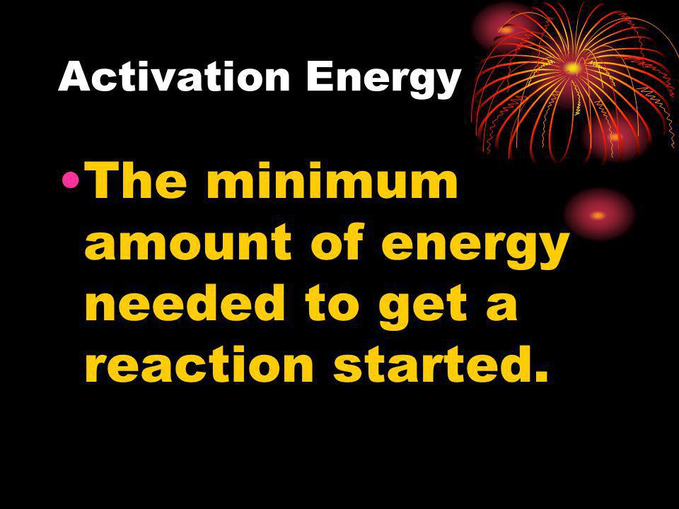 The minimum amount of energy needed to get a reaction started.