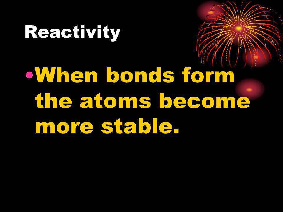When bonds form the atoms become more stable.