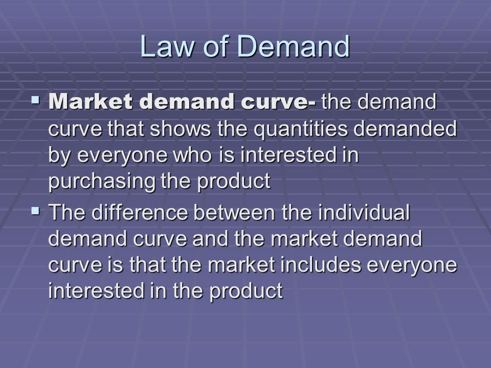 Law of Demand Market demand curve- the demand curve that shows the quantities demanded by everyone who is interested in purchasing the product.