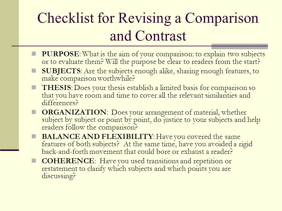 Checklist for Revising a Comparison and Contrast