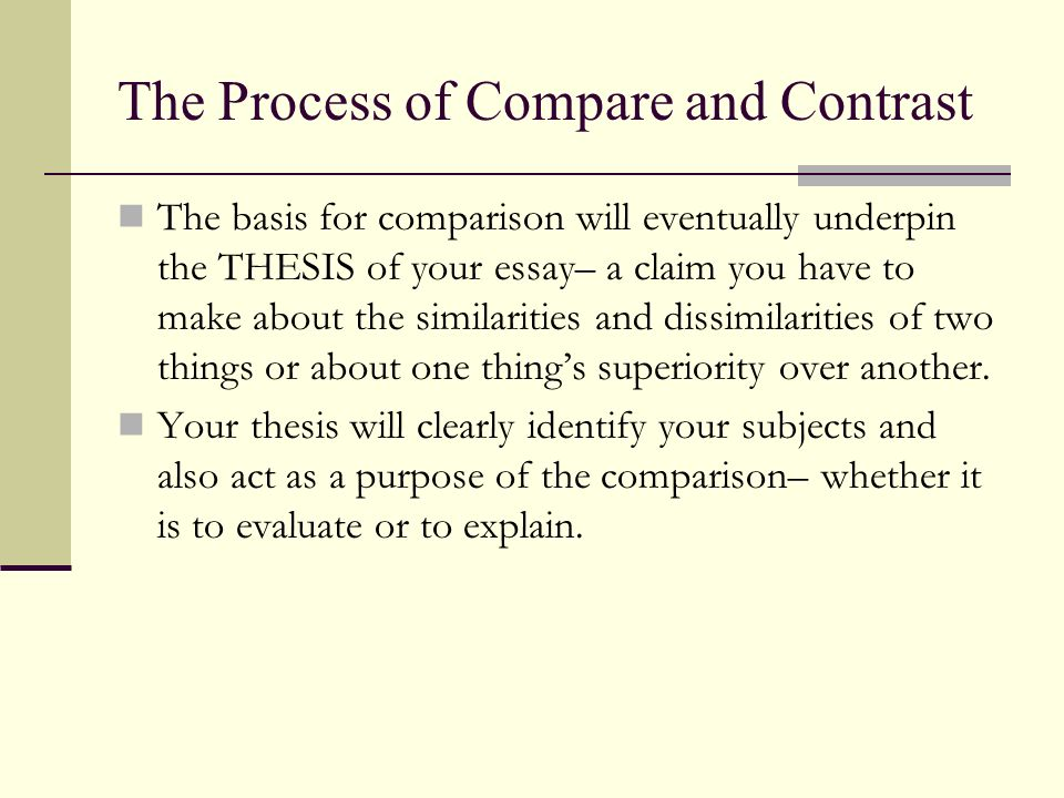 The Process of Compare and Contrast