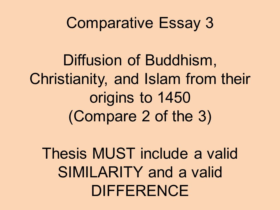 Comparative Essay  Diffusion Of Buddhism Christianity And Islam From  Their Origins To  Compare  Of The  Thesis Must Include A Valid  Similarity Comparative Essay  Diffusion Of Buddhism Christianity And Islam From  Their Origins To  Compare  Of The  Thesis Must Include A Valid  Similarity