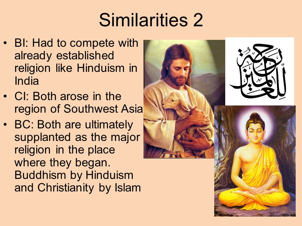 similarities and differences christianity buddhism origins 1450 Compare and contrast: hinduism and buddhism by: kelley cranor everyone has a religion and beliefs comparing and contrasting the beliefs of hinduism and buddhism, the factors that changed both of the religions, and how they affect the world today shows how each one is different and alike.