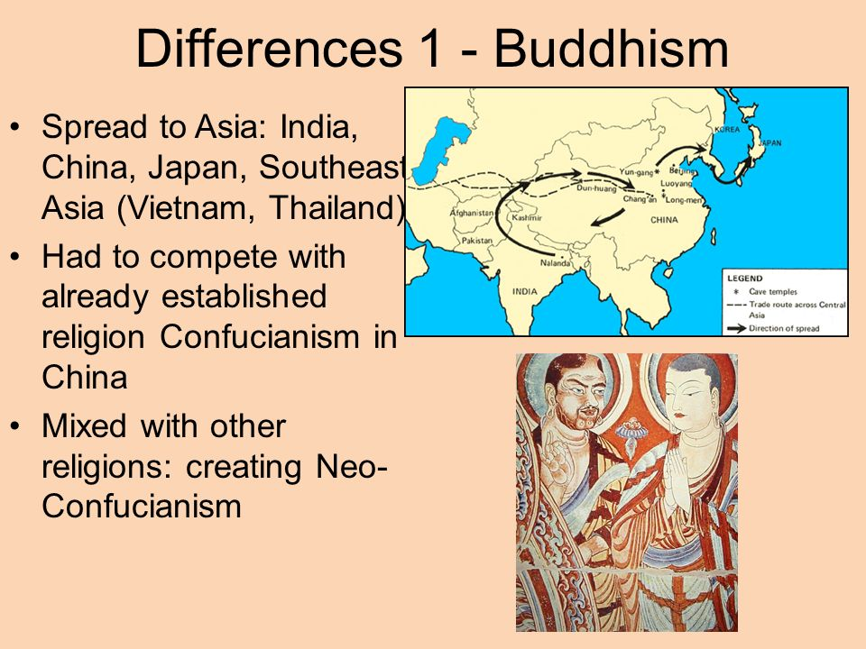 compare and contrast the spread of christianity to buddhism and islam Buddhism vs christianity islam vs  buddhism vs islam anonymous  in contrast, mahayana buddhism consists mainly of extra things which buddha had never.