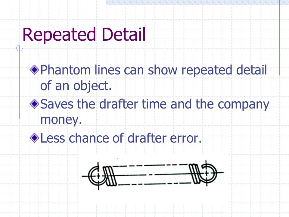 Repeated Detail Phantom lines can show repeated detail of an object.