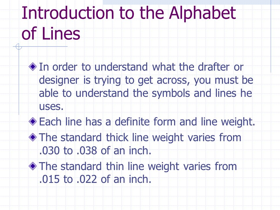 Introduction to the Alphabet of Lines