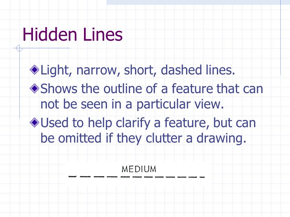 Hidden Lines Light, narrow, short, dashed lines.