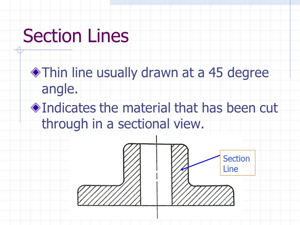 Section Lines Thin line usually drawn at a 45 degree angle.