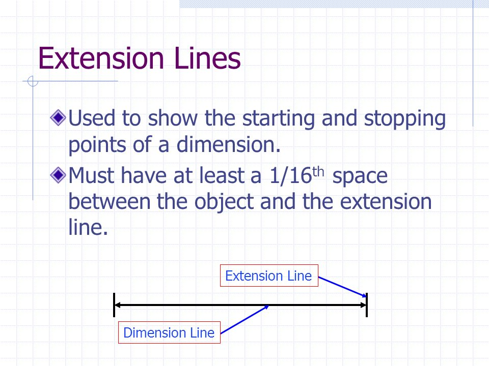 Extension Lines Used to show the starting and stopping points of a dimension.