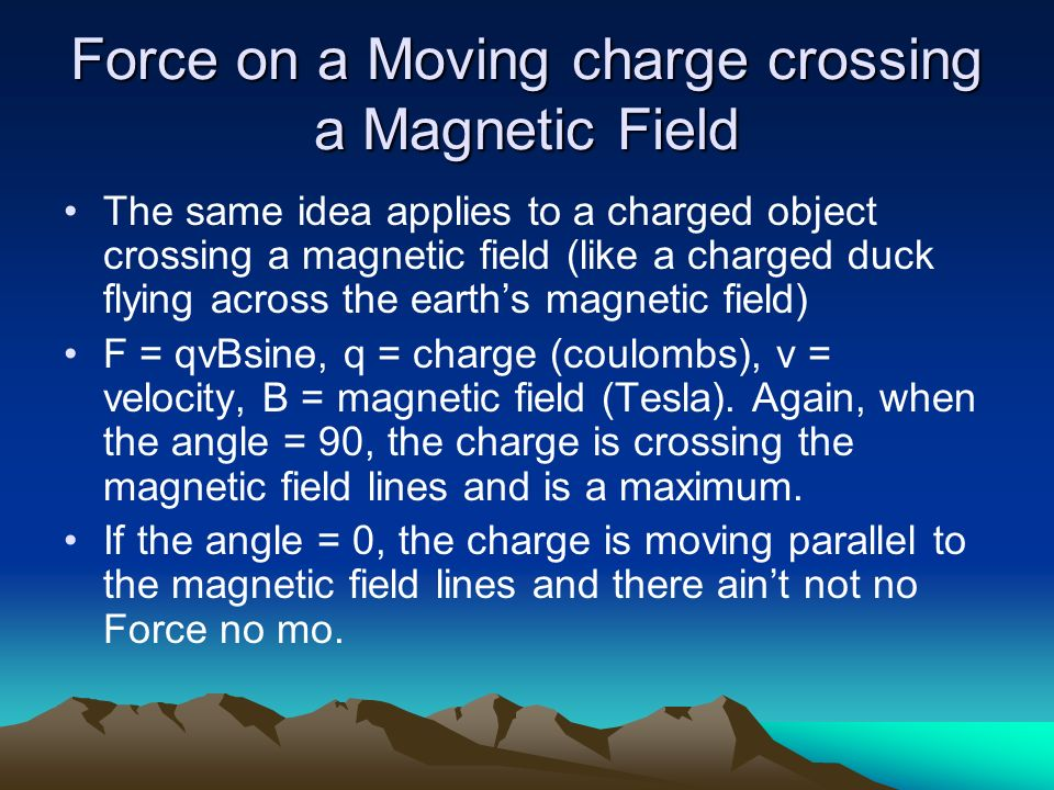 Force on a Moving charge crossing a Magnetic Field