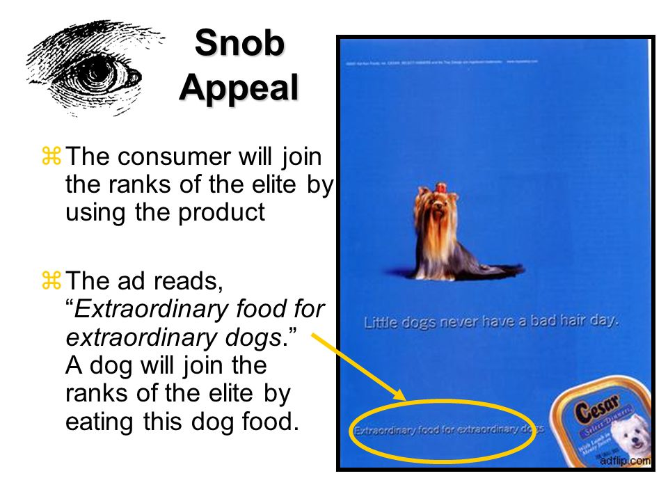 Snob Appeal The consumer will join the ranks of the elite by using the product.