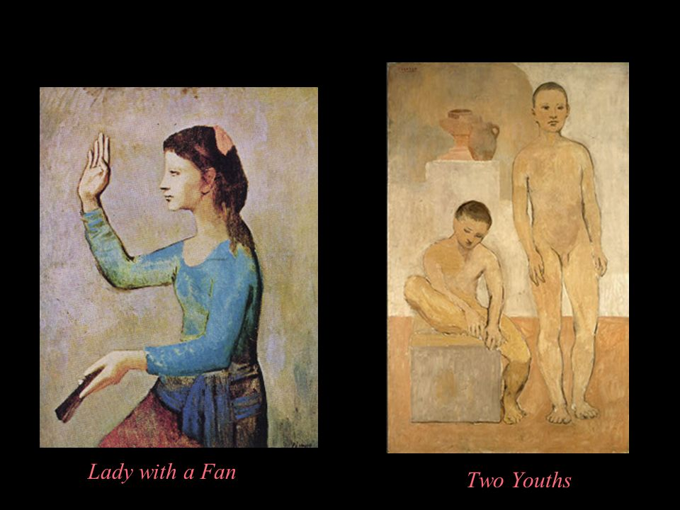 Lady with a Fan Two Youths