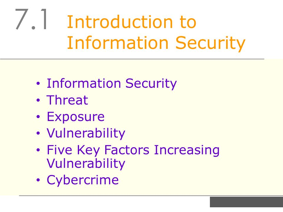 introduction of information security systems Introduction to information security 1 differentiate threats to information within systems from attacks against information within systems introduction and information systems security committee (nstissc),1 is the protection of information.
