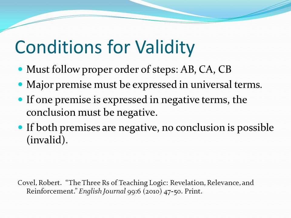 Conditions for Validity