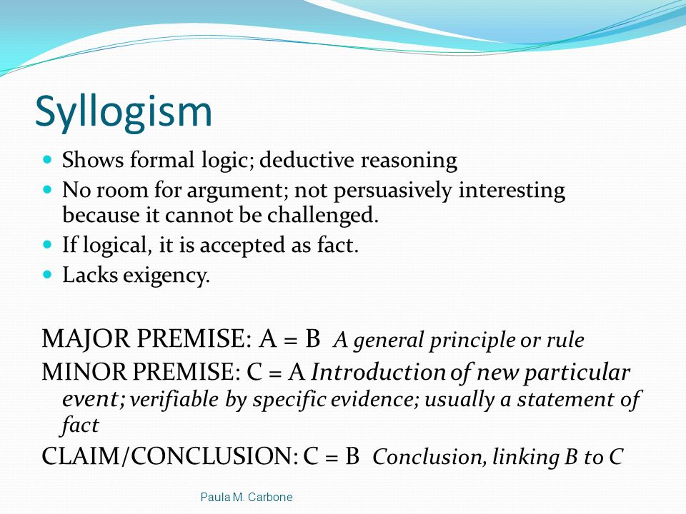 Syllogism MAJOR PREMISE: A = B A general principle or rule