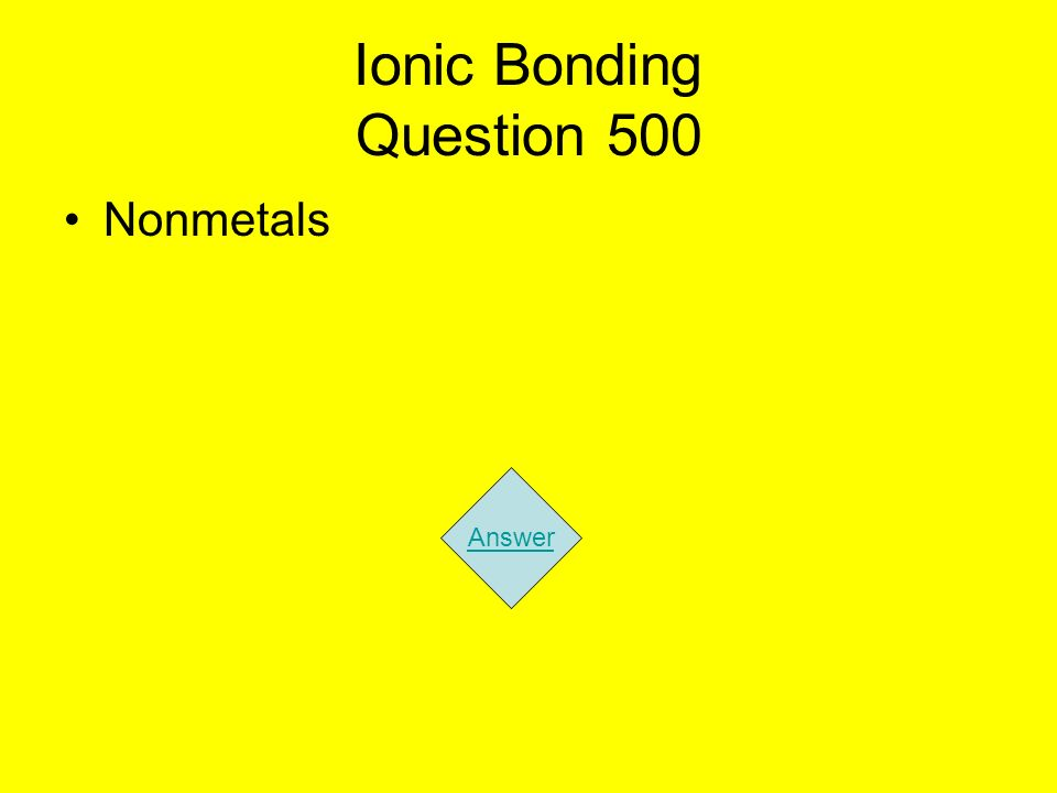 Ionic Bonding Question 500