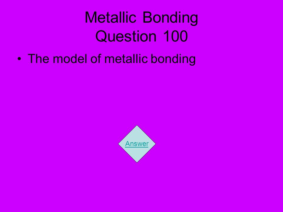 Metallic Bonding Question 100