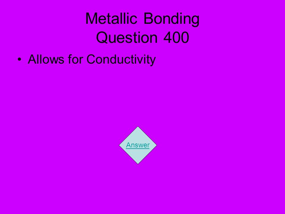 Metallic Bonding Question 400