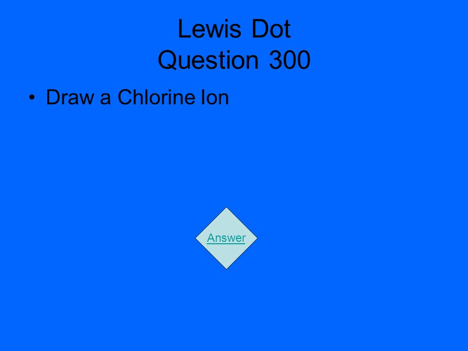Lewis Dot Question 300 Draw a Chlorine Ion Answer