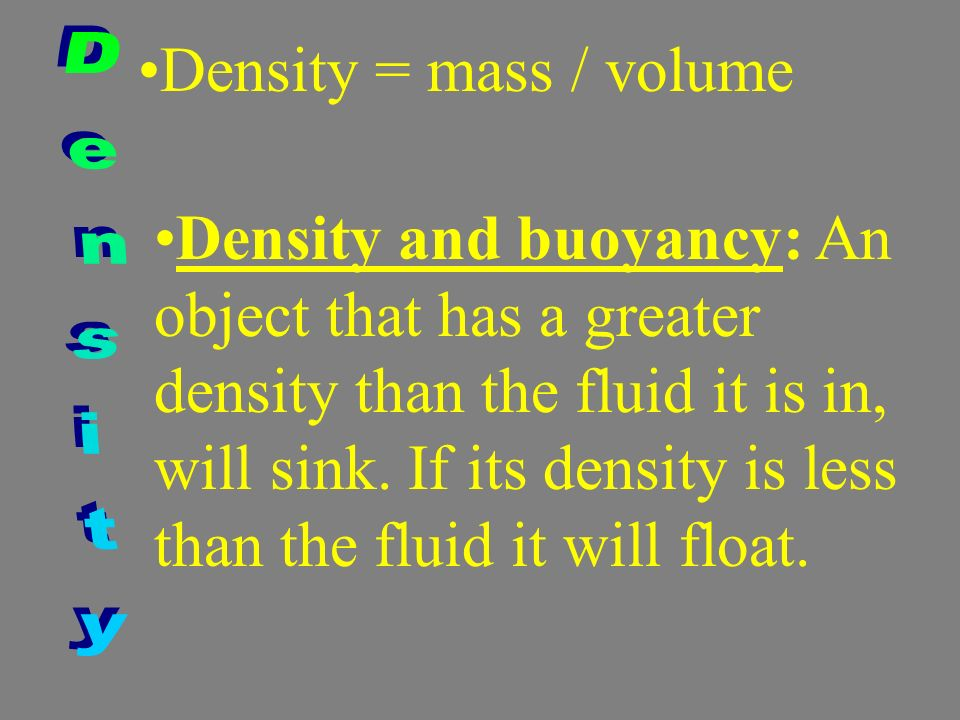 Density = mass / volume