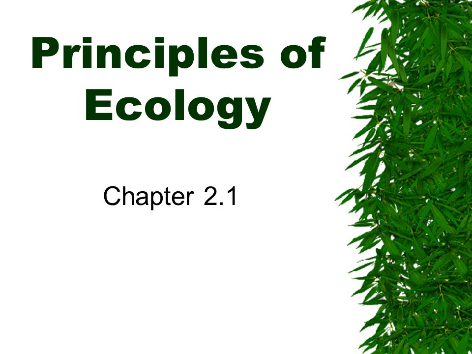Principles of Ecology Chapter 2.1