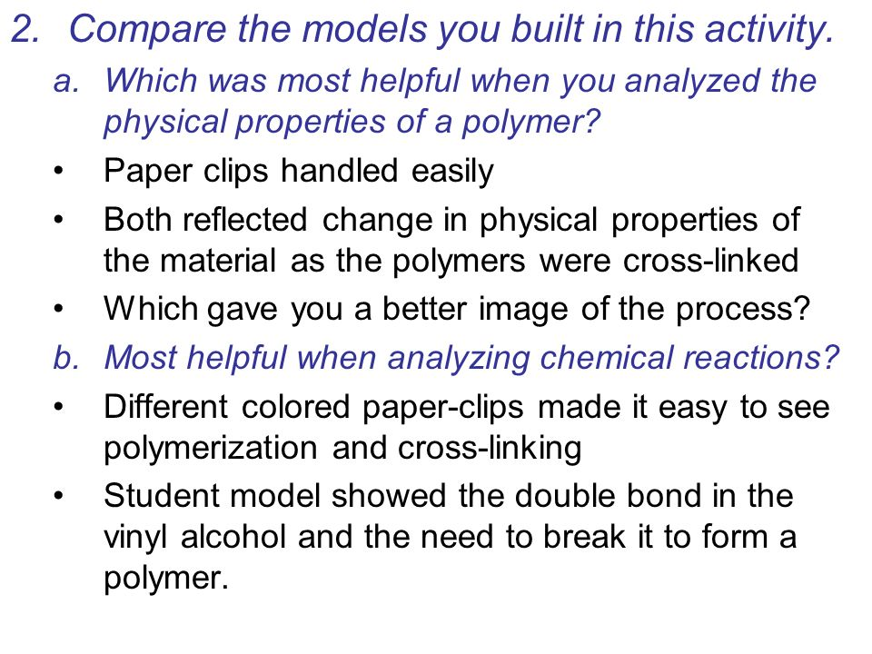 Compare the models you built in this activity.