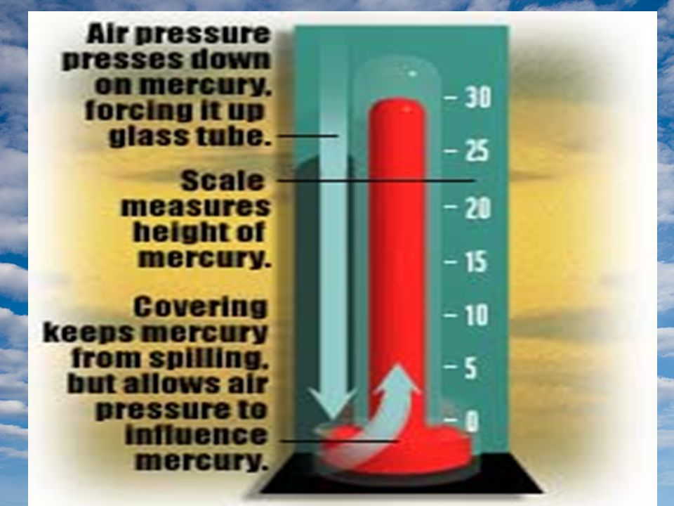 Barometric Pressure The barometer is used to forecast weather.